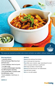 Satisfy cold-weather cravings with a fiery and delicious butter chicken curry. Curry Recipes, Meat Recipes, Indian Food Recipes, Chicken Recipes, Cooking Recipes, Butter Chicken Curry, Group Recipes, Good Food, Yummy Food