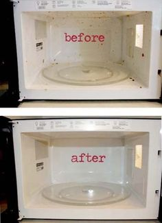 Cleaning the microwave is not an easy task of daily chores. This tip cleans your microwave great! 1 cup vinegar + 1 cup hot water + 10 minutes in microwave = steam clean! No more scum, no funky smells.