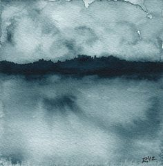 Original Watercolor Landscape, Lake or River, Painting in Indigo Blue  by reneeanne,