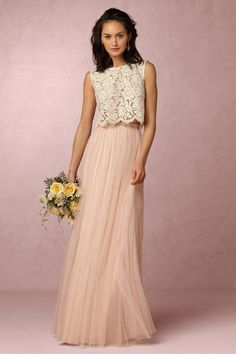 Blush Skirt with Lace Top (pictured: Cleo top by BHLDN with Louise Tulle Skirt by Jenny Yoo at BHLDN)