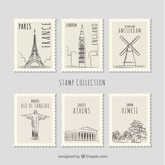 Set of landmark stamps with different cities in hand drawn style Free Vector Journal Stickers, Scrapbook Stickers, Postage Stamp Design, Tumblr Stickers, Thinking Day, Bullet Journal Ideas Pages, Aesthetic Stickers, Printable Stickers, Stamp Collecting