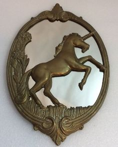 Vintage Solid Brass Fantasy Unicorn Oval Wall Mirror (AG)
