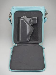 ICE BLUE LAMBSKIN VERTICAL CROSS BODY CONCEALED CARRY