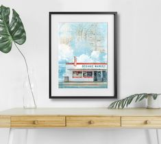 Oceanic Market small bodega mixed media print with vintage map Coney Island Mixed Media, Vintage Map, My Arts, Ocean, Original Artwork
