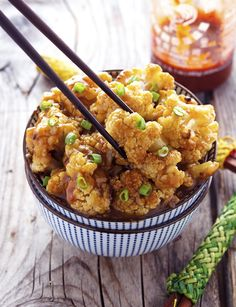 Vegetarian food can be soo yummy! Look so good! Spicy Honey-Garlic Roasted Cauliflower FoodBlogs.com
