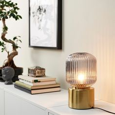 """SOLKLINT Table lamp, brass/gray clear glass, 11"""" - IKEA Brass Table Lamps, Bedside Table Lamps, Glass Cabinet Doors, Glass Door, Panel Led, Ikea Table, Paint Shades, Led Lampe, Soft Surroundings"""