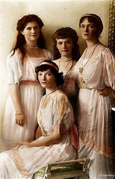 The romanov daughters:taintiana,Olga,Marie and the youngest Anastasia