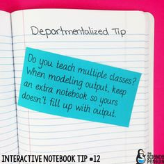 Interactive Science Notebook Tips: Departmentalized Tip