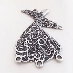 Large Silver Plated Sufi Whirling Dervish Pendant, Arabic letters,Rumi (mawlavi) Charm, Turkish Jewelry Supplies, 65x45 mm door AnatolianSupplies op Etsy https://www.etsy.com/nl/listing/254639275/large-silver-plated-sufi-whirling