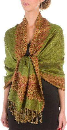 "70"" x 28"" Border Pattern Double Layer Woven Pashmina Feel Shawl / Wrap / Stole - Olive Green: Amazon.co.uk: Clothing"