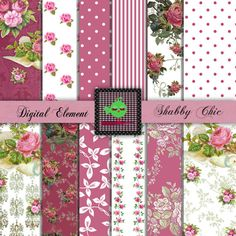 Pink Rose Digital Paper Shabby Rose Scrap Paper by DigitalElement