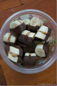 chocolate dipped banana bites #snack #healthy #kid-friendly