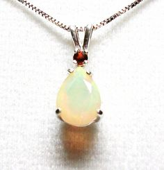 Ethiopian opal accent necklace w/ 18 ss box link by Michaelangelas, $89.50  Free worldwide shipping!