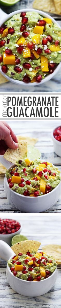 Zesty guacamole with juicy pomegranate jewels, fresh mango, feta cheese, and a hint of garlic and lime. (Alter for Paleo) Pomegranate Recipes, Mango Guacamole, Guacamole Recipe, I Love Food, Good Food, Yummy Food, Pesto, Dips, Healthy Life
