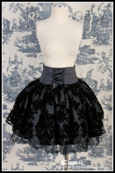 Gloomth Ghost Skirt Corset Damask XS to XL. $105.00, via Etsy.