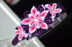 Purple girl headband Kanzashi flower headband by MagaroCreations