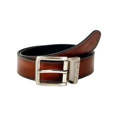 Nautica Mens Leather 1 3/8 Inch Heat Creased and Contrast Stitch Reversible Belt #Nautica