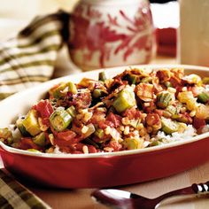 Okra Creole | Serve flavorful Okra Creole as a side or over rice for an easy entrée. This recipe uses frozen okra as a budget and time saver.