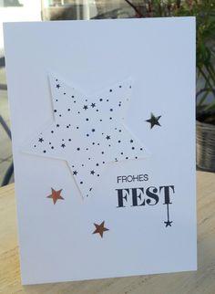 Weihnachtskarte schwarz, weiss und silber