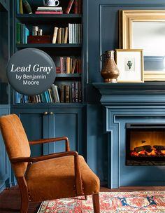 Paint Color Pick: Lead Gray By Benjamin Moore The paint color: Lead Gray by Benjamin Moore – a deep blue-grey that calls to mind the crushing waves of the sea at dusk. Why we love it: This handsome shade is dark and moody, but also has richness a Decor, Living Room, Cozy Office, Interior, Blue Rooms, Home, House Interior, Room Colors, Interior Design