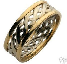 Yellow & White Gold Two Colour Celtic Wedding Ring Band - Celtic Rings at Elma UK Jewellery Celtic Rings, Celtic Wedding Rings, Wedding Ring Bands, Jewellery Uk, Jewelry Rings, Gold Rings, Rings For Men, White Gold, Rose Gold
