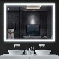 Fantastic Frameless Bathroom Mirrors Led Touch Screen Dimmable Frameless Bathroom Mirror With Anti Fog Na pertaining to [keyword Boho Bathroom, Bathroom Trends, Bathroom Colors, Bathroom Sets, White Bathroom, Small Bathroom, Bathroom Interior, Master Bathroom, Lighted Vanity Mirror