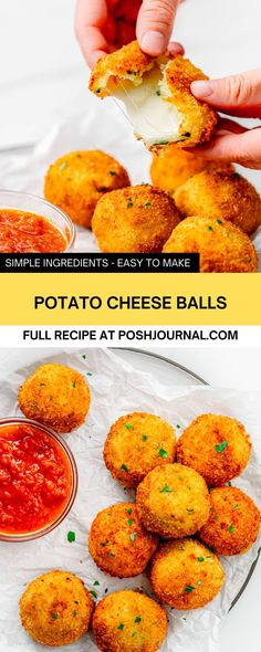 These potato cheese balls are delicious and addictive. They are crunchy on the outside but creamy and cheesy on the inside. You can serve these potato balls as a party snack to please the crowd, especially on game day! #potato #gameday #recipe #appetizer Potato Cheese Balls Recipe, Cheese Ball Recipes, Potato Recipes, Mashed Potatoes From Scratch, Fried Mashed Potatoes, Making Mashed Potatoes, Gourmet Appetizers, Best Appetizer Recipes, Appetizers For A Crowd
