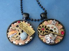 OOAK Steampunk Pendants in Believe or Key Designs by DaKsJewelry