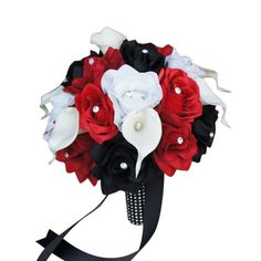 "10"" Bouquet: Rose Calla lily Bouquet.Black,Apple Red,and White"