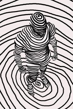 The lines are all in a circle and it creates a 3-d image of a person. What makes this image interesting?