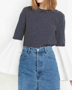 Black and white striped t shirt for women trumpet sleeve tops Contrast  Color 706c70a7369e
