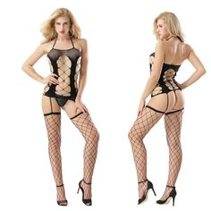 657fa197c Women Sexy Lingerie Fishnet Open Crotch Bodystocking Catsuit Hollow Out Body  Suit Erotic Underwear Porn Costumes