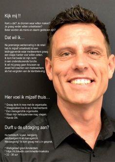 Creatieve sollicitatie van Walter Hoekstra op LinkedIn. Viel mij direct op door de foto. Mag van mij nog wel wat duidelijker in zijn tekst.