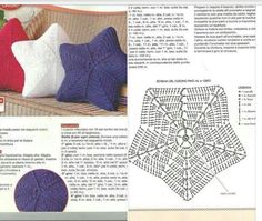 Knitting patterns toys crochet stars 55 New Ideas Crochet Pillow Pattern, Crochet Cushions, Crochet Diagram, Crochet Motif, Crochet Doilies, Crochet Stitches, Crochet Pillow Cases, Crochet Home, Diy Crochet