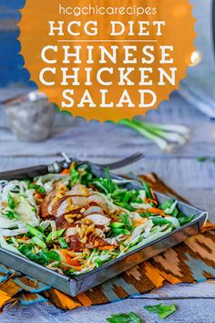 Phase 2 hCG Diet AP (Alternate Protocol) Recipe: Chinese Chicken Salad with letttuce, cabbage, carrots, cucumber & optional coconut oil & orange - 188 cal Hcg Chicken Recipes, Hcg Recipes, Cabbage Recipes, Spicy Recipes, Mexican Food Recipes, Ethnic Recipes, Diet Salad Recipes, Diet Dinner Recipes, Chinese Chicken