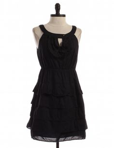 Black Tiered Dress by Maeve by Anthropologie - Size 4 - $46.95 on LikeTwice.com