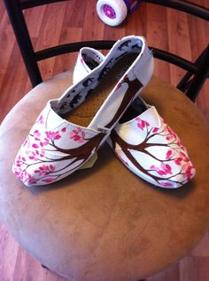 Custom Hand Painted Toms. $90.00, via Etsy.