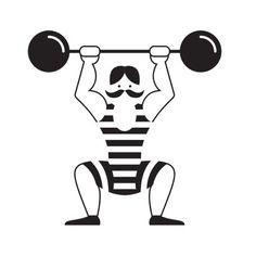 Gewichtheber, schwarz, Velours-Motiv zum Aufbügeln