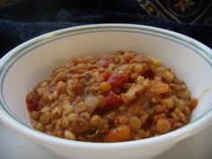 This is a surprisingly filling, vegetarian, crock pot soup. It is very good, and easy to prepare the night before, or chop the veggies in advance and turn it on before you leave for work in the morning. Goes great with a crusty bread.