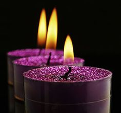 candles purple with flowers in them - Google Search