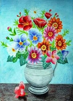 9 Interested Clever Tips: Vases Shapes Beautiful vases transparent clay.Decorating Vases Diy what to do with glass vases. Flower Vase Drawing, Flower Vase Design, Flower Vases, Flower Art, Flower Drawings, Flower Girls, Pencil Drawings, Grands Vases, Paper Vase