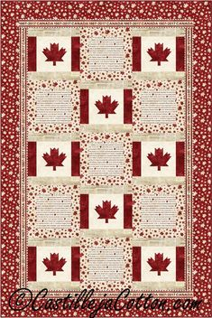 Canada is My Country Quilt Pattern Flag Quilt, Patriotic Quilts, Quilt Blocks, Canadian Quilts, Canadian Flags, Cute Quilts, Boy Quilts, Quilting Projects, Quilting Designs