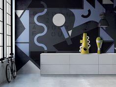 Carta da parati lavabile pop art SENSO UNICO by N.O.W. Edizioni design PIETRO GAETA, Alessandro Mendini