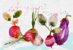 Watercolor fashion illustration, portrait and textiles designed by Marta Spendowska, Polish-American artist.