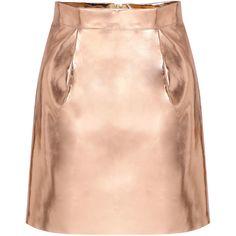 Yoins Gold Punk Mini Skirt (32 AUD) ❤ liked on Polyvore featuring skirts, mini skirts, yoins, gonne, faldas, gold, gold metallic skirt, punk skirt, a line skirt and short a line skirt
