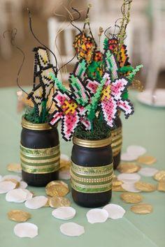 Perler bead flowers in vases