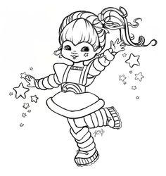 rainbow brite coloring pages printable Printable Adult Coloring Pages, Cute Coloring Pages, Cartoon Coloring Pages, Coloring Pages For Kids, Coloring Books, Art Projects For Adults, Rainbow Brite, New Art, Cricut