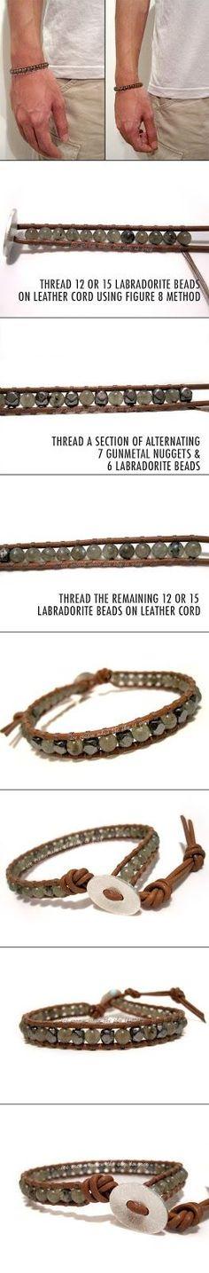 ice cream when the sky is grey: DIY Bracelet: Valentine's Gift Idea For Men - Single Wrap Gunmetal & Labradorite Mix On Natural Brown Leather