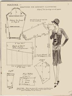 stylish daydress with yoked hip, flared knee-length skirt, blousoned bodice, long Magyar sleeves, jabot