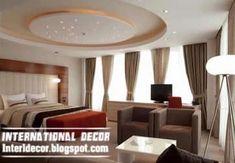 Modern pop false ceiling designs for bedroom interior, gypsum false ceiling